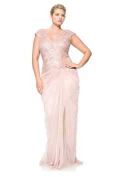Tadashi Shoji Paillette Embroidered Lace V-Neck Gown with Tulle Skirt.