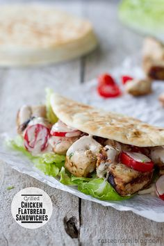 Grilled Chicken Flatbread Sandwiches