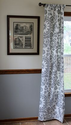 Custom curtain panels in gray twill by Magnolia Mommy Made