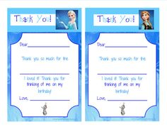 INSTANT DOWNLOAD Thank You Frozen Elsa Anna - Unlimited Printing