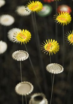 Sweet flowers made from bottle tops