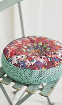 Round patchwork pillow.