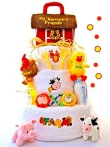 All Diaper Cakes - Down On The Farm Diaper Cake, $99.95 (http://alldiapercakes.com/down-on-the-farm-diaper-cake/)