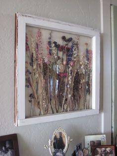 http://shabbyfarmer.blogspot.com/ Dried flowers in vintage window