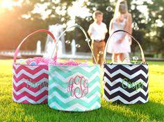 Personalized Monogrammed Chevron Easter Buckets - Kids, Boys, Girls Easter Egg Chevron Bucket Basket on Etsy, $20.00