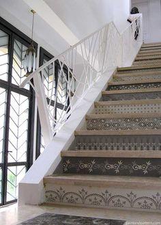 Henna inspired stairs stenciled with Modello® Designs vinyl masking stencils