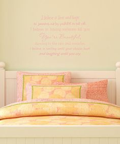 Take a look at this Belvedere Designs Soft Pink 'I Believe' Wall Quote by Color Trends: Pops of Pink on #zulily today!