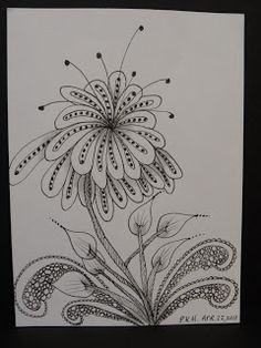 Trish's Artistic Adventures: Zentangle Inspired Art-Title Page, Bird and Flower