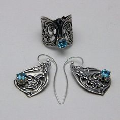 Art Nouveau Ring and Earring Set in Silver Plated by oscarcrow