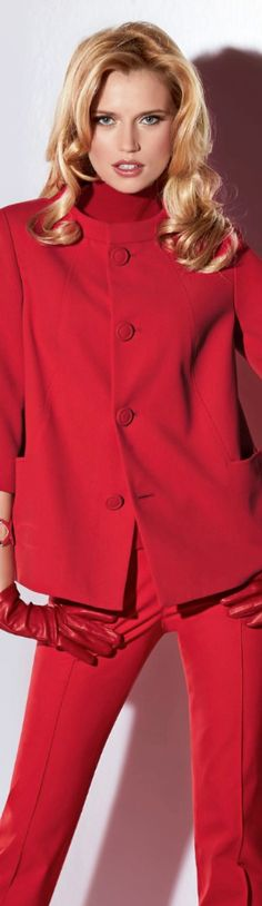 better red, dates, color stories, hair bangs, madelein fashion, red suit, madeleine fashion, red pant, coat