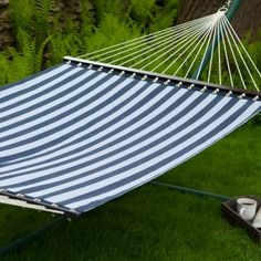 Island Bay 13 ft. Quick Dry Poolside Navy Stripes Hammock