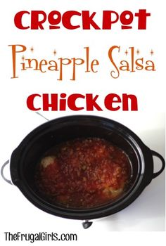 Crockpot Pineapple Salsa Chicken Recipe ~ from TheFrugalGirls.com ~ this easy slowcooker chicken recipe is full of sweetness + spicy zing! {it's SO good!} #recipes