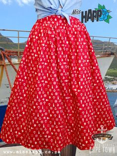 Red Nautical Sailor flared skirt by MissHapp on Etsy, $49.00