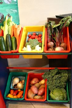 Vegetable Stand Pretend Play for Kids...use real produce so children can explore and investigate the different vegetables. Natural baskets would be nice to display the veg and would highlight the natural colours