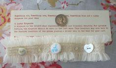 Bridal garter something blue i do button Ivory by judesvintage, £6.99