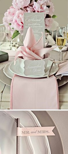 Elegant grey and pink Tablescape