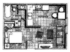 studio floor plan 408 sq ft $ 425