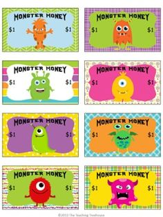Freebie! Reward your students with Monster Money! This would go great with Dojo!!
