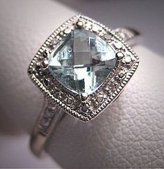 Vintage Aquamarine Wedding Ring Diamond Art Deco
