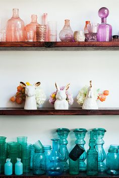 Color coordinated vases.   Decorating With Flowers  ||  Quirky Animal Vases