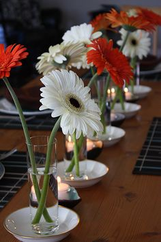 Simplicity & Style....Gerber Daisies, A Wonderful Finish to this Autumn Table
