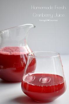 Homemade Fresh Cranberry Juice - via FarmgirlGourmet.com