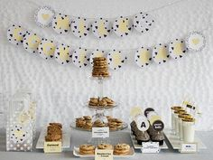 dessert tables, cooki bar, milk, shower idea, cookies, parti idea, paper plates, babi shower, baby showers