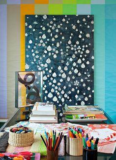 Interior designer Doug Meyer decoupaged walls in technicolor