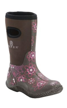 Roper Kid's Brown with Pink Flower Print Barn Boots