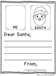 SANTA LETTER included in Christmas Writing for Kinders by First Grade Schoolhouse. KINDERGARTEN. $ Filled with FUN writing activities for CHRISTMAS and the holiday season.    Includes graphics by Fancy Dog Studio http://www.fancydogstudio.com    http://www.teacherspayteacher.com/Store/First-Grade-Schoolhouse