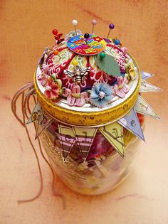 Craft Jar of Whimsies with Pincushion