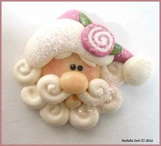 NEW Polymer Clay Bead or Bow Center Jellyroll Rose Santa Face.