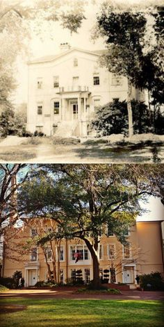 Throwback Thursday: The first president's house at the University of South Carolina, circa 1900, and the president's house today.     Top photo from the USC Archives.