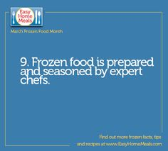 These expert chefs use the highest quality ingredients to prepare frozen meals.