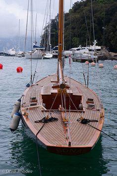 A beautiful wooden yacht, Portofino, Italy