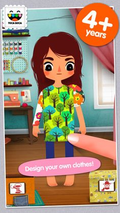 Toca Tailor ($0.99) create, combine and style fun outfits for 4 different characters. Choose between lots of clothing designs, then tailor them by adjusting hems and lengthening sleeves. Mix & match colours, prints & fabrics – or use the built-in fabric camera to create your very own unique patterns. Also use pictures from your Camera Roll! Add buttons, pockets & other original details. Add hats, shoes & fun accessories. Use your own room as a background.