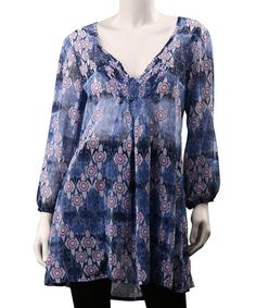 Take a look at this Blue Gema Tunic - Women by Yest on #zulily today!