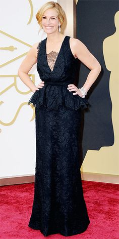 #Oscars 2014 Red Carpet Arrivals - Julia Roberts wearing a black lace Givenchy gown and Bvlgari jewels.  Via InStyle #RedCarpet #JuliaRoberts #BestDressed #TheLimited
