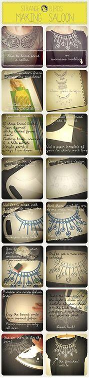 How to print a collar on a tee shirt.  http://planetstrangebird.blogspot.co.uk/2013/05/how-to-hand-print-collar-or-macrame.html