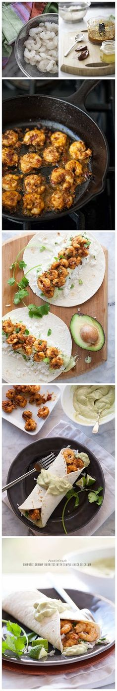 Chipotle Shrimp Burritos with Simple Avocado Crema