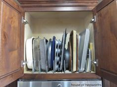 Install Organizer Racks inside cabinets to store bakeware! Organizing in the kitchen: bakeware www.houseofhepworths.com