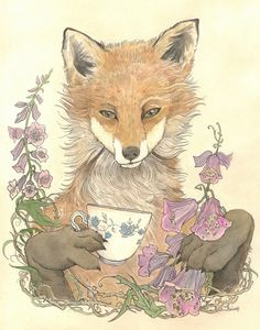 The Tea Party: Fox in the foxglove by Laura Bushinski Illustration