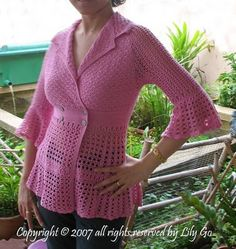 #PATTERN ($6): Dahlia Top Pattern  Crochet Jacket #2dayslook #fashion #nice #CrochetJacket  www.2dayslook.com