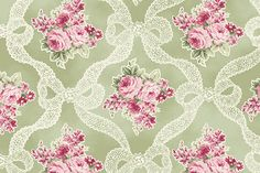 RURU Bouquet RU2200-13C Green Ribbons and Roses by Quilt Gate