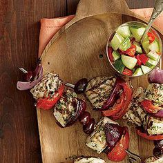 Grilled Halibut Kebabs with Tarragon Butter -- serve this alongside a cucumber-and-tomato salad