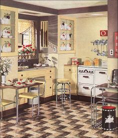 1936 Yellow Armstrong Kitchen with Geraniums by American Vintage Home, via Flickr