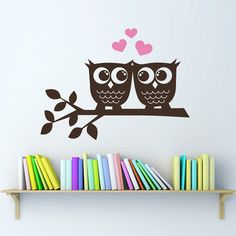 Owls in Love Wall Decal  Owl Wall Art by StephenEdwardGraphic, $30.00