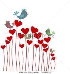stock vector : The bird sings sitting on heart. A vector illustration