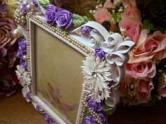 Hand Painted  Embellished Picture Frame by theresamariejewelry, $45.00