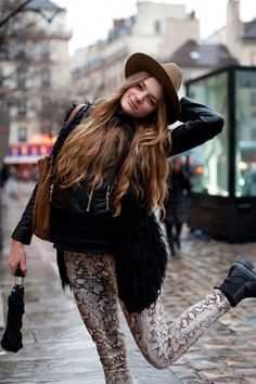 snake, fashion, printed pants, street style, outfit, animal prints, leather pants, style clothes, hat